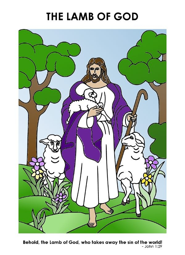 christian easter coloring page Jesus holding a lamb