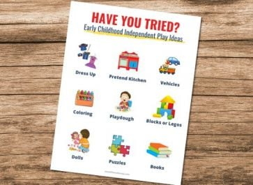 independent play ideas printable
