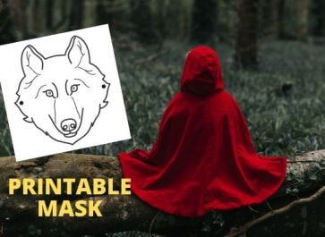 child wearing red cloak for little red riding hood pretend play activity