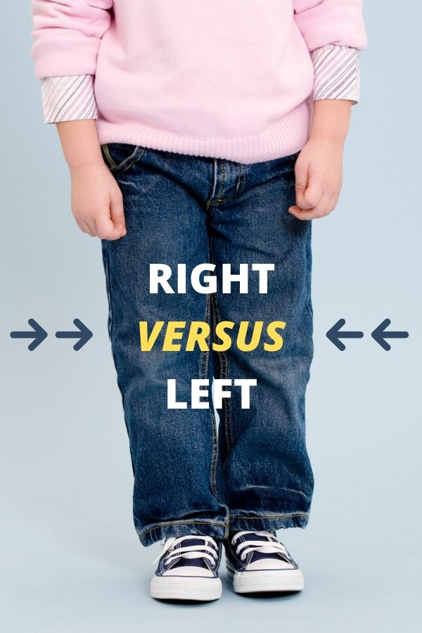 a child's legs demonstrating left and right