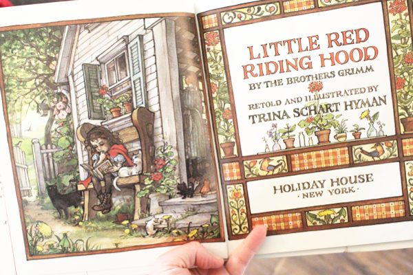 title page of book recommendation for little red riding hood pretend play activity
