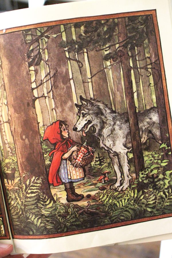 little red riding hood pretend play book illustration