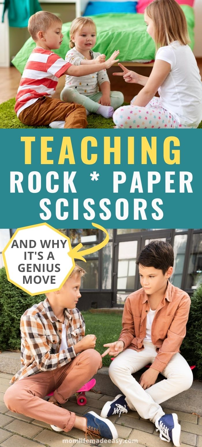 kids learning how to play rock, paper, scissors