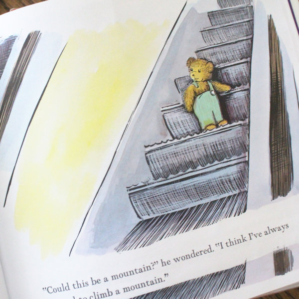 a picture from corduroy book where the bear is on the escalator