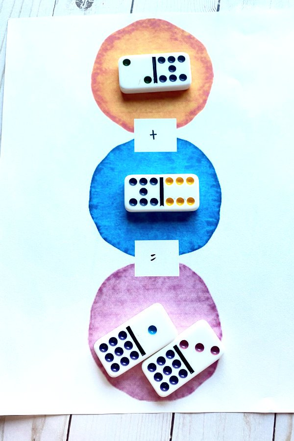 dominoes being used for a colorful addition math problem in a fun math worksheet printable
