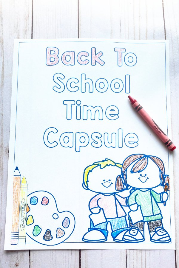 back to school time capsule printable photographed with a crayon