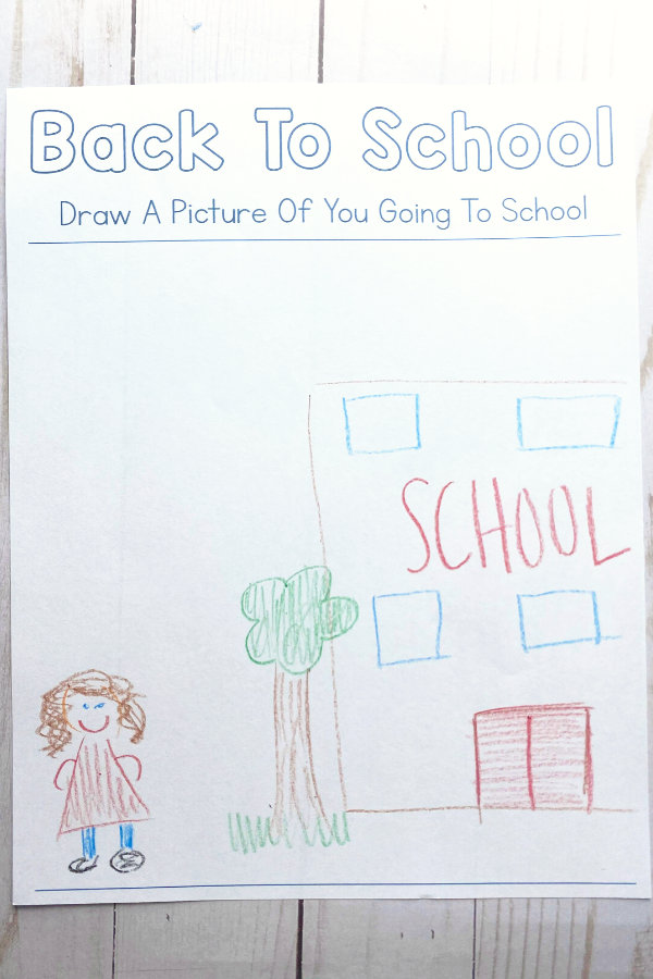 Another page from the printable back to school activity featuring a space for kids to draw
