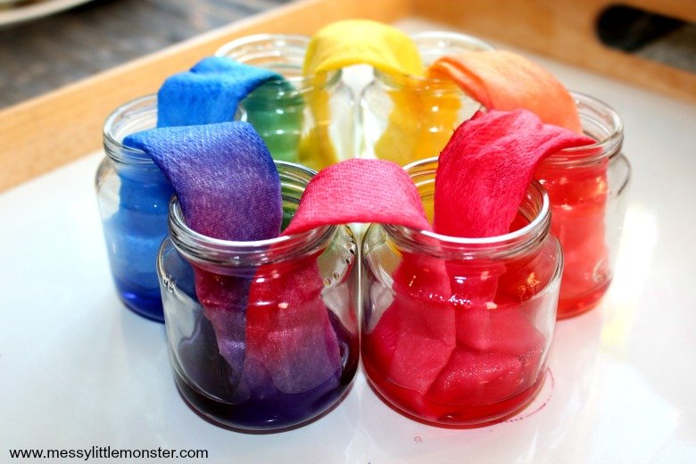 rainbow of colors appearing in a paper towel for this science experiment for kids at home