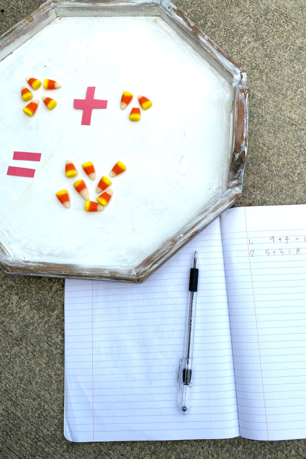 cute candy corn math activity in action with an addition math problem