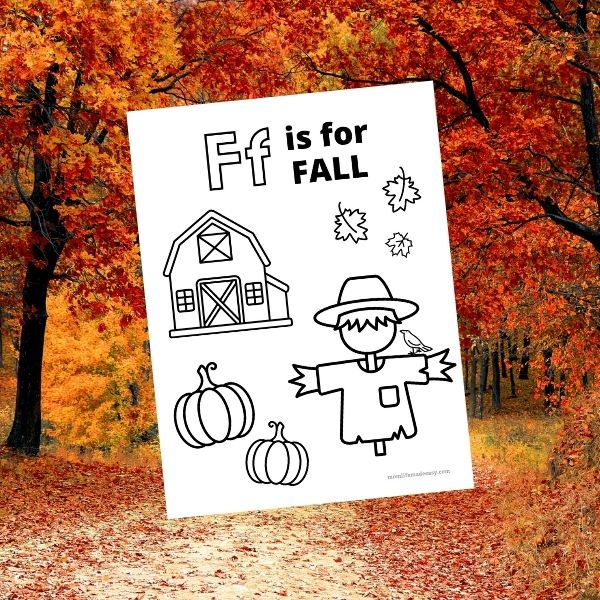 F is For Fall Coloring Page Promo Image