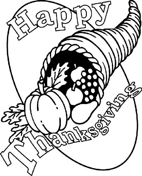cornucopia coloring page that says happy thanksgiving