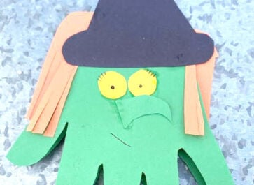 completed green witch card halloween paper craft