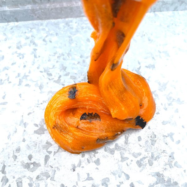 stretching halloween slime to make it less sticky