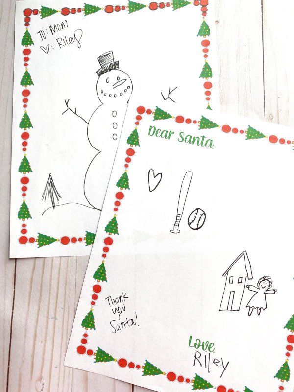printable santa letter drawn by a child