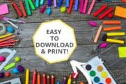 Indoor kids Coloring Pages Featured Image With Art Supplies