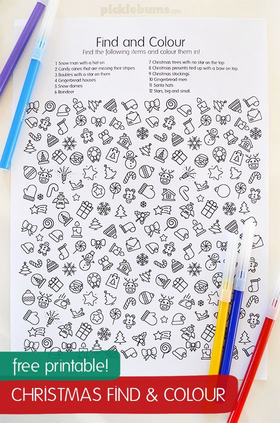 free printable christmas find and color coloring page