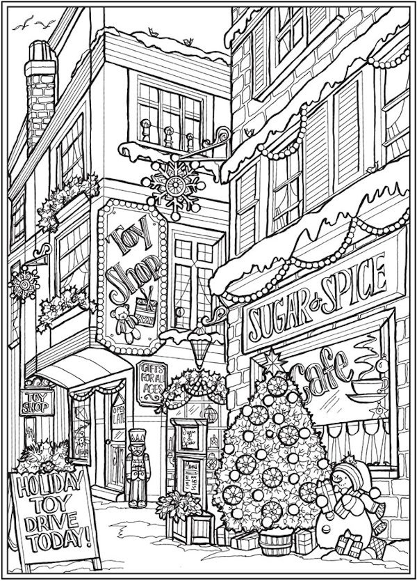 dover coloring page sample depicting a holiday scene in a charming town