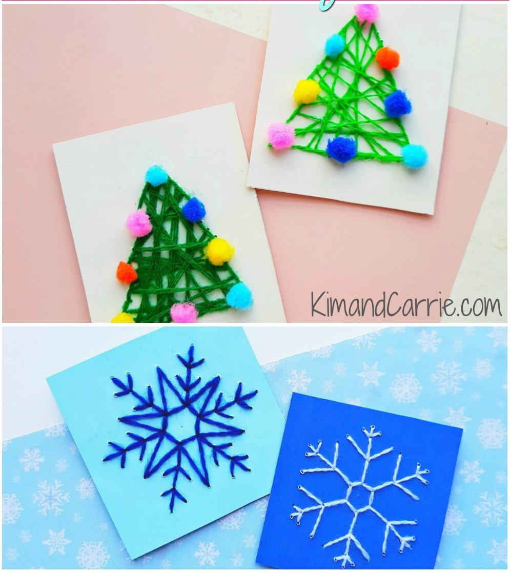 christmas string art easy christmas craft is displayed on a table with 4 cards total