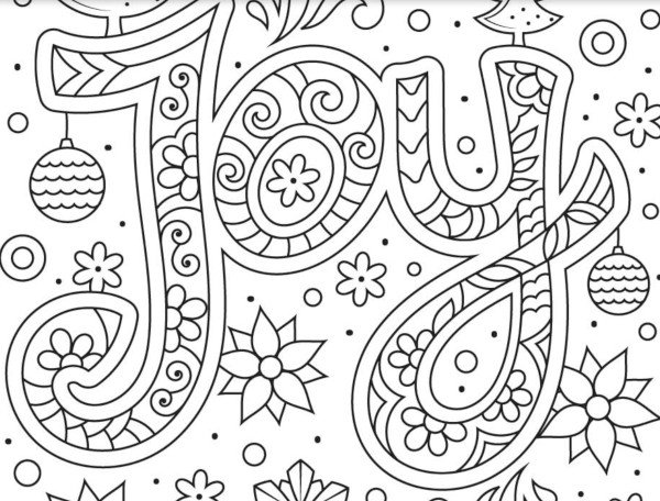 """Joy"" free christmas coloring page sample"