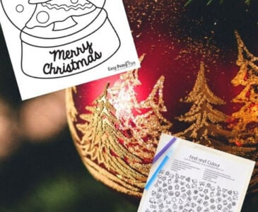 free christmas coloring pages displayed by a Christmas ornament