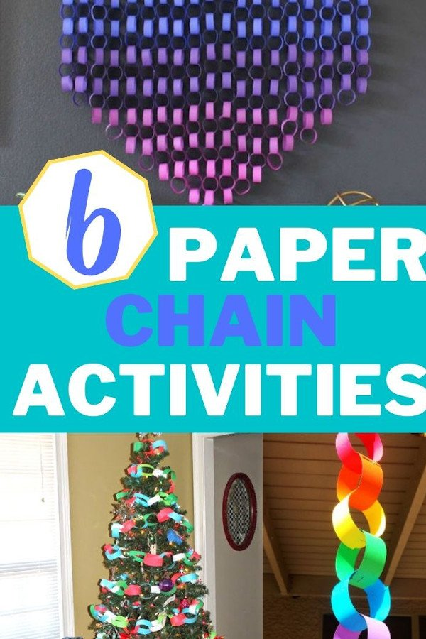 photo collage of a few different paper chain activities for kids