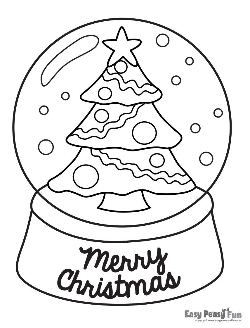 snowglobe free christmas coloring page