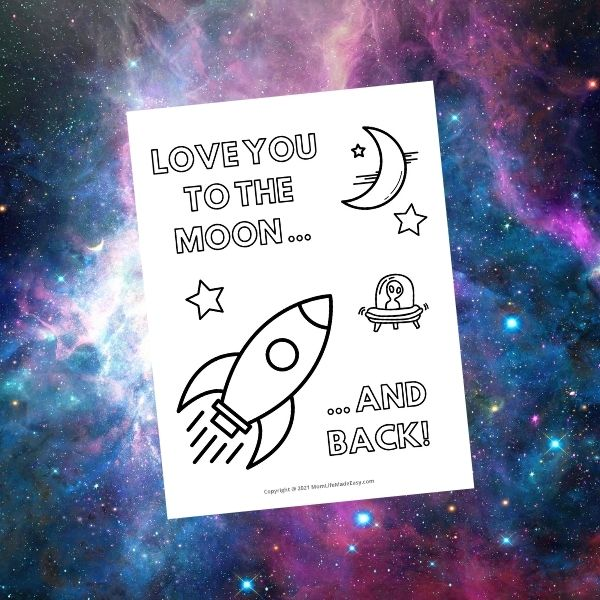 cute Valentine's Day printable coloring page with rocket and moon and stars