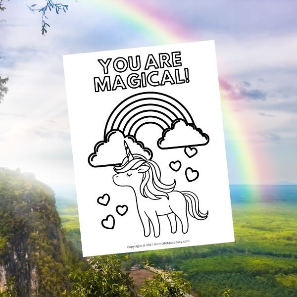 magical cute unicorn coloring page complete with a rainbow in the background