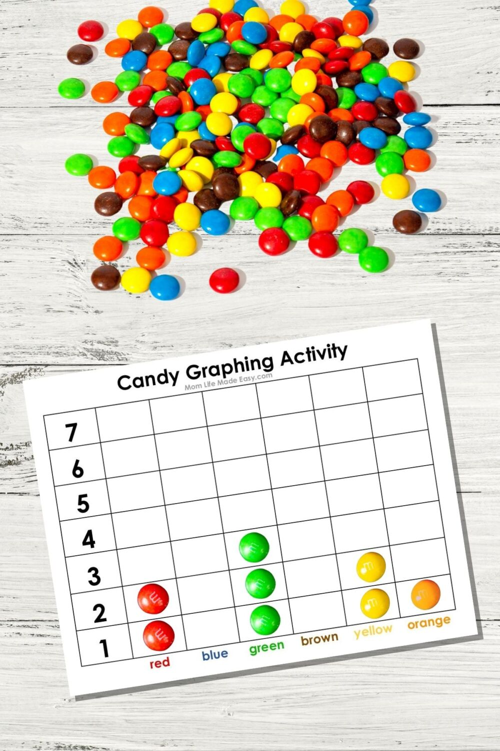candy on a table with printable graphs