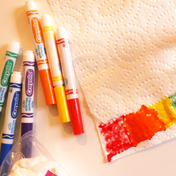 colored in paper towel to start stem activity for kids