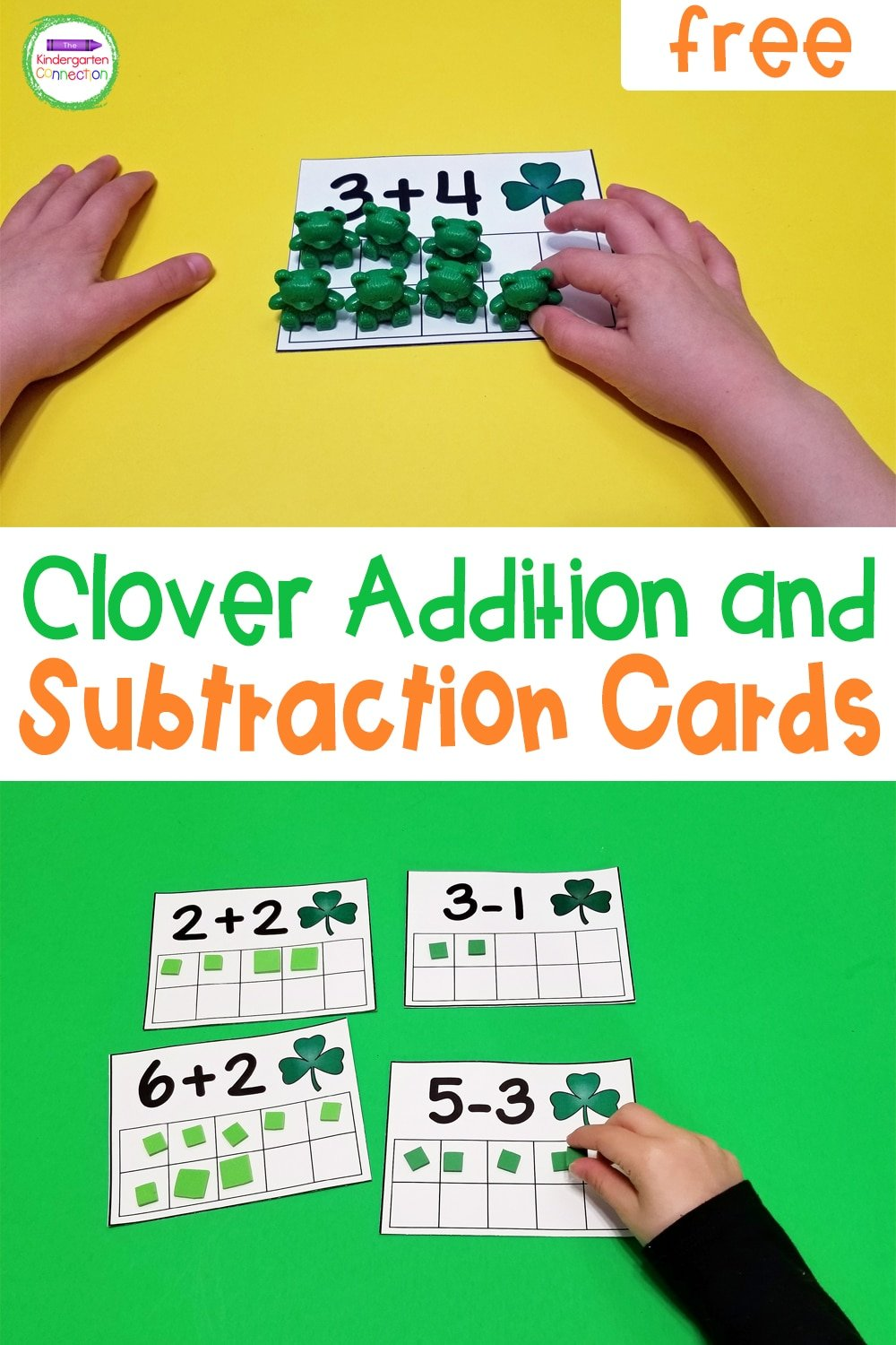 Kindergarten Connection promo image for clover decorated addition and subtraction cards