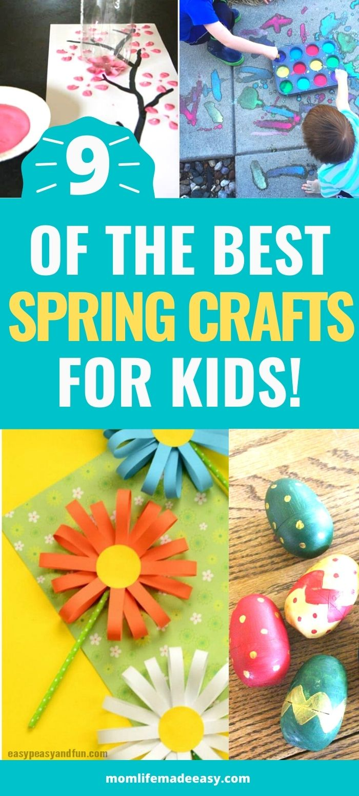 a collage of all the spring crafts for kids