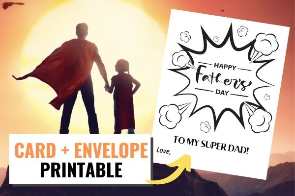 super dad and his super son pose next to the free printable