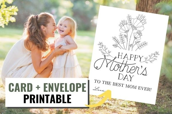 a mom and daughter smiling next to a image of the Mother's Day coloring card printable