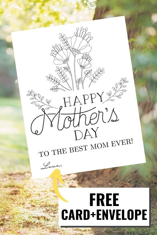 Printable DIY Mother's Day card coloring page displayed with a grassy field behind it