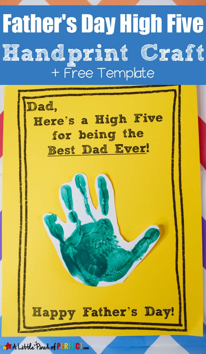 DIY Father's Day Card with blue kids handprint cut out