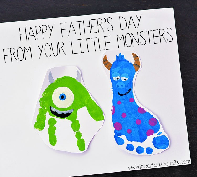 "a green handprint and a blue footprint turned into monsters for a DIY Father's Day card that says ""from your little monsters"""