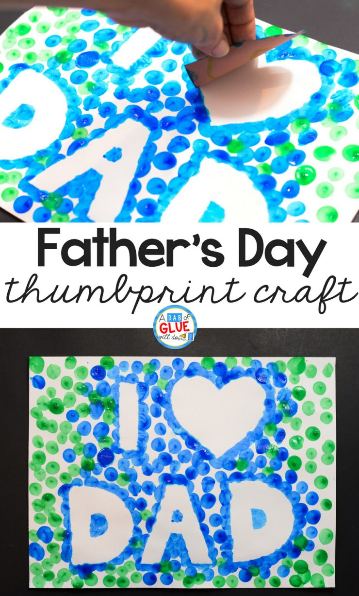 "DIY Father's Day Thumbprint Craft with blue and green fingerprints spelling out "" I Heart Dad"""
