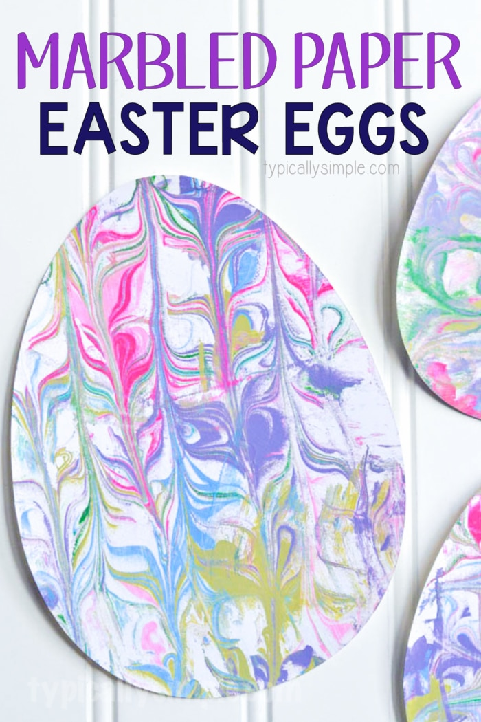 shaving cream marbled surprise Easter arts and crafts eggs made of paper arranged on a table