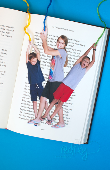 kids posed in funny stances for Mother's Day craft idea of photo bookmarks