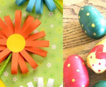 a small collage of a few promo images of spring crafts for kids including paper flowers and wooden Easter egg painting