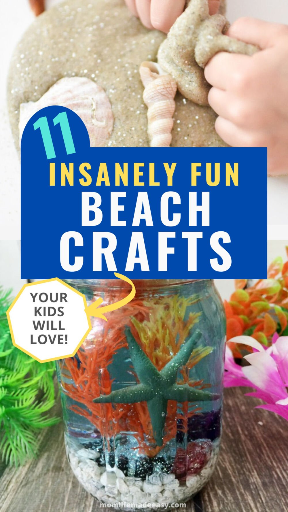 11 beach crafts for kids this summer promo image collage