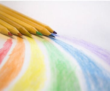 pencils used for coloring in coloring pages making a rainbow