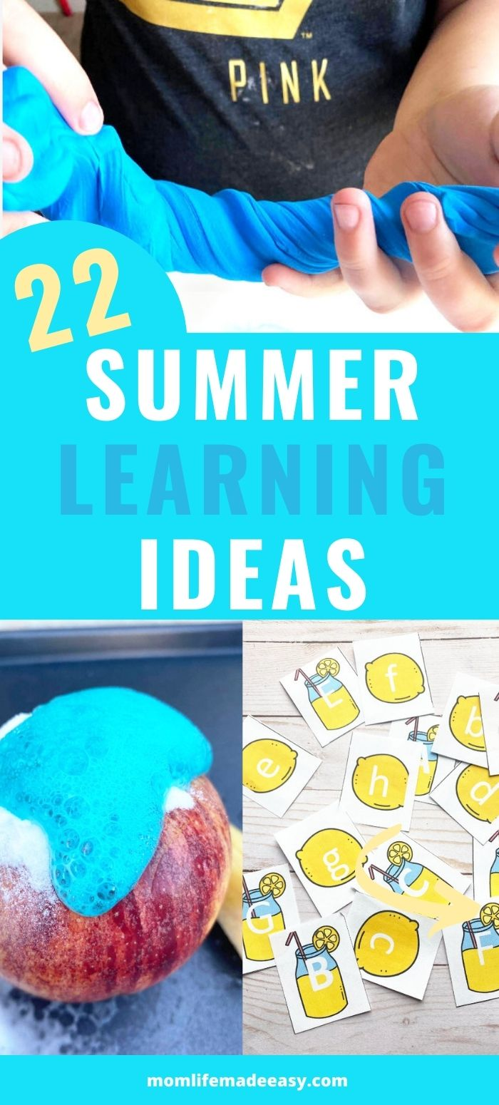 promotional collage of some of the featured summer learning activities on a bright blue background with text