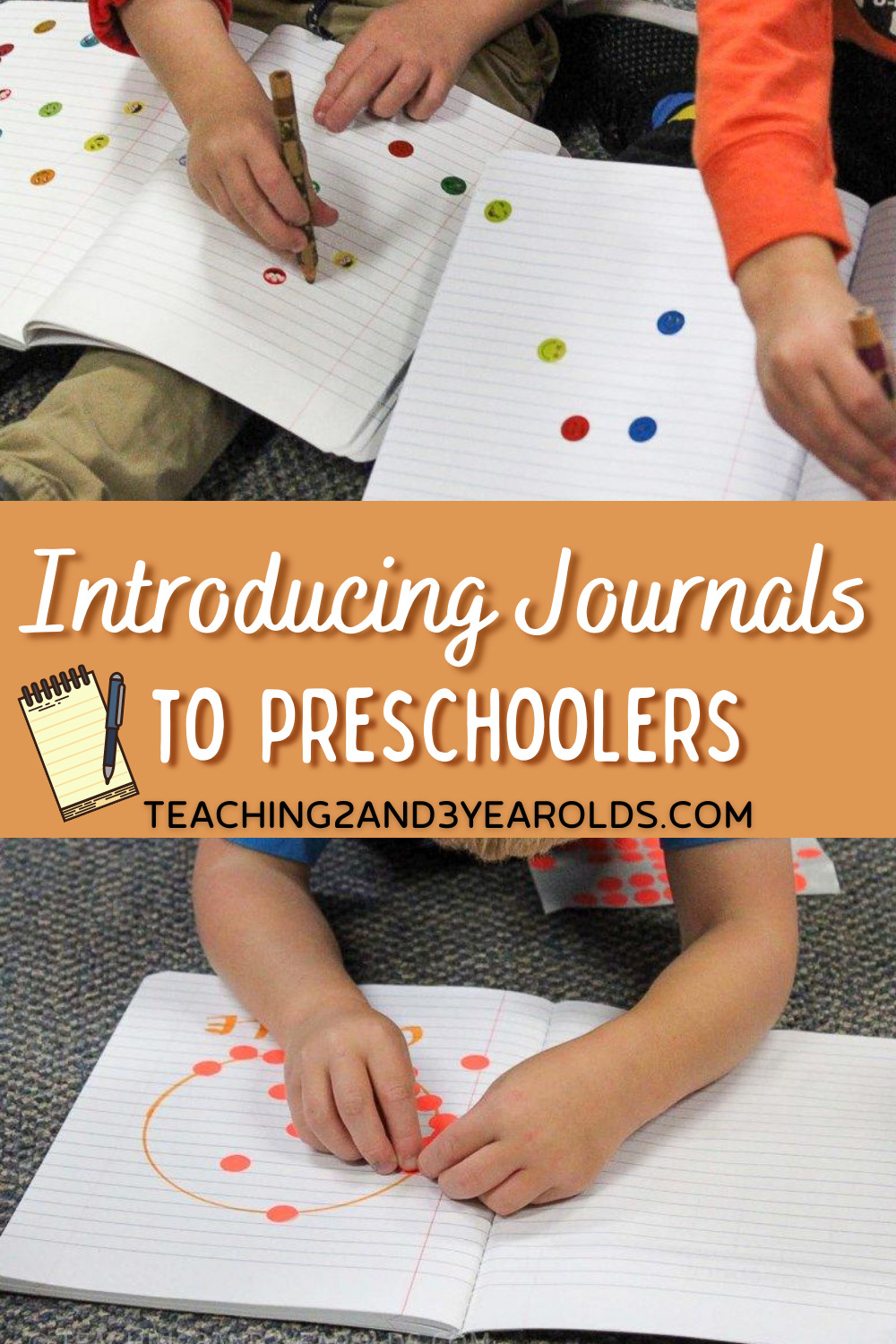 promo image collage of introducing preschool kids to their own journals