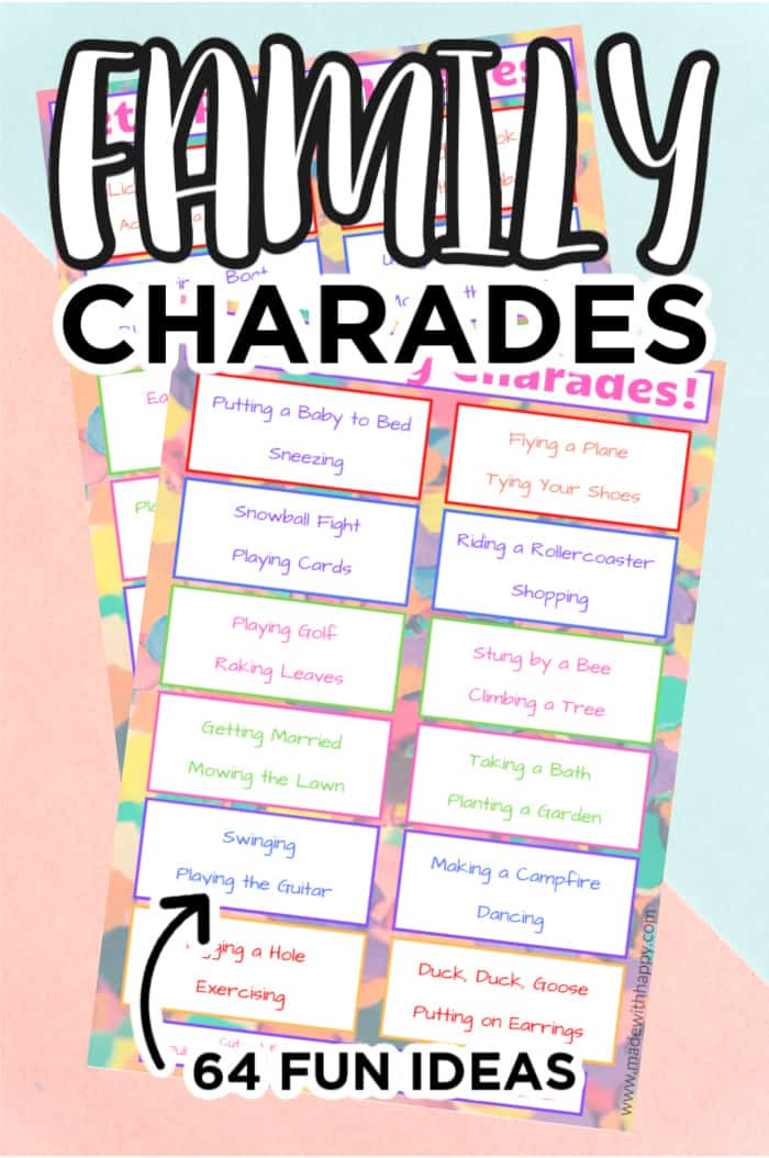 printable promo of indoor game charades