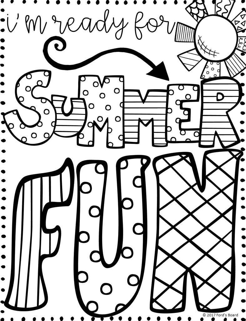 A sample of a summer coloring page designed by Ford's board featuring text to be colored in