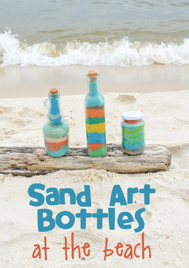 sand art beach craft featured sand colored with dyes arranged artfully in glass bottles