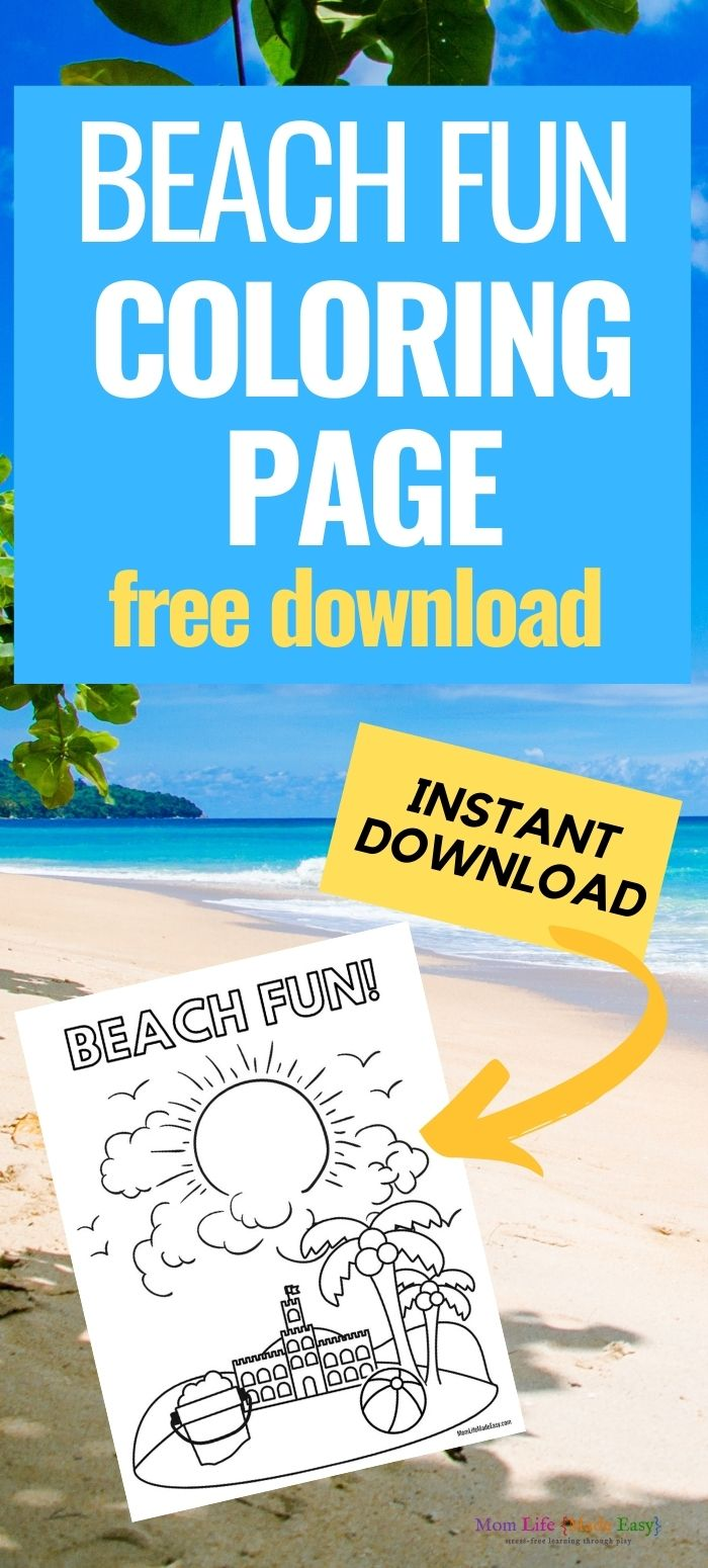 printable coloring page featured over a background of a real beach and promotional text