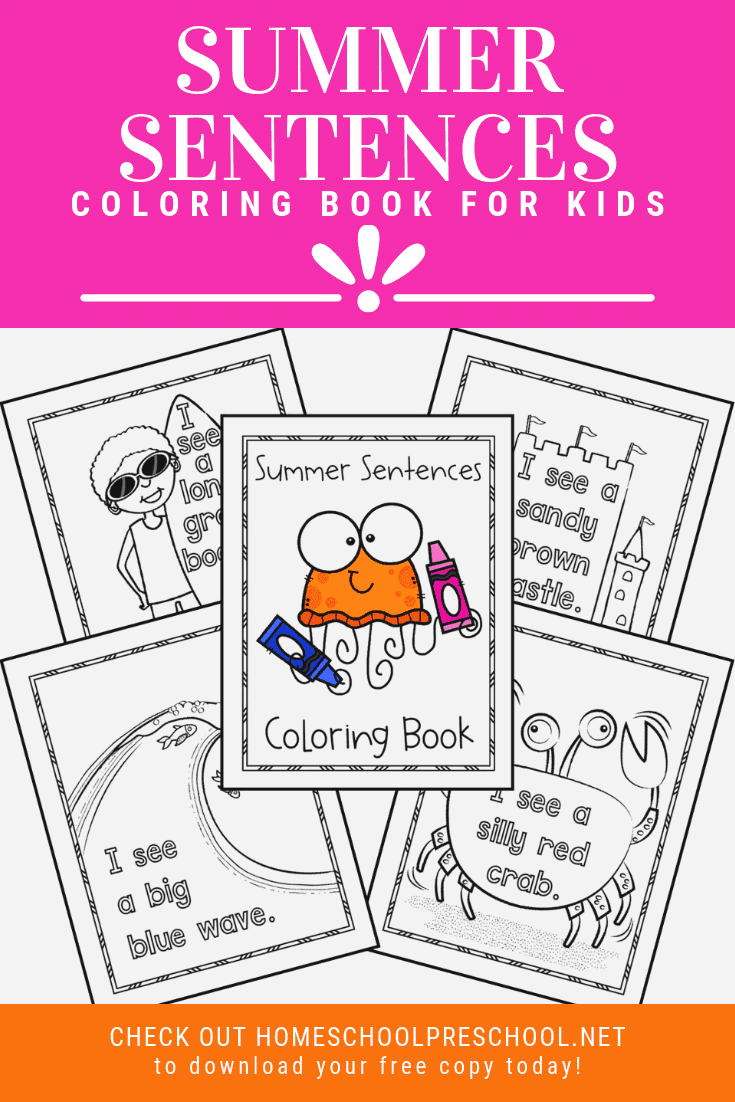 a collage of printable summer coloring pages featuring summer words and colors for kids
